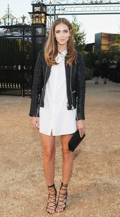 black leather jacket with white shirt dress and lace up sandals