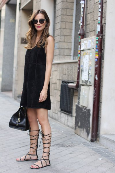 black mini shift tank dress with gladiator flat sandals
