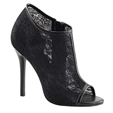 black open toe high heels with subtle lace details
