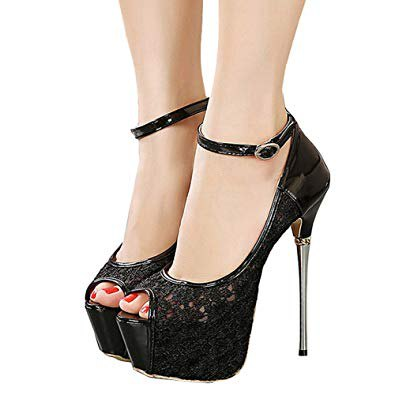 black open toe lace heels with red toe polish