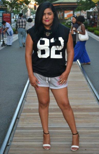 black printed sleeveless t shirt with mini grey sweat shorts