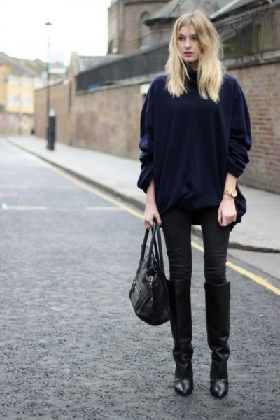 black velvet coat with matching skinny jeans and knee high boots