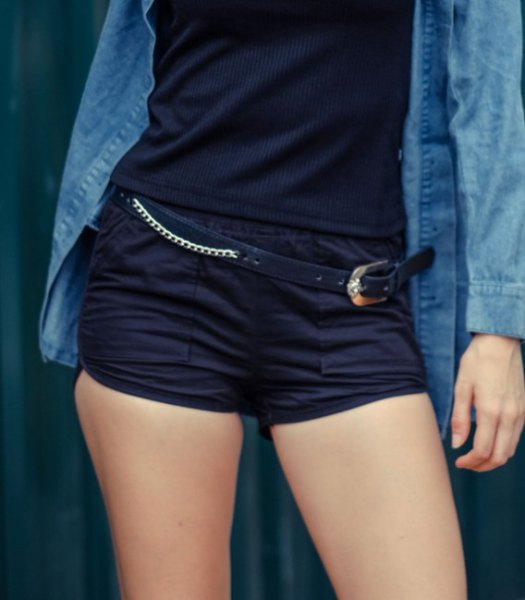 blue chambray button up shirt with black tank top and matching mini sweat shorts