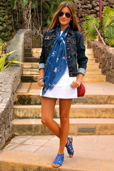 blue scarf with denim jacket and mini white shift dress