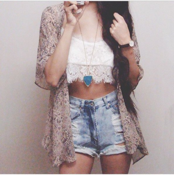 blush pink lace cardigan with crop top and denim shorts