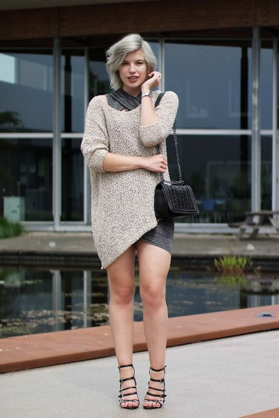 blush pink sweater dress with black heeled strappy sandals