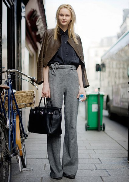 brown leather jacket with heather grey wide leg knit pants