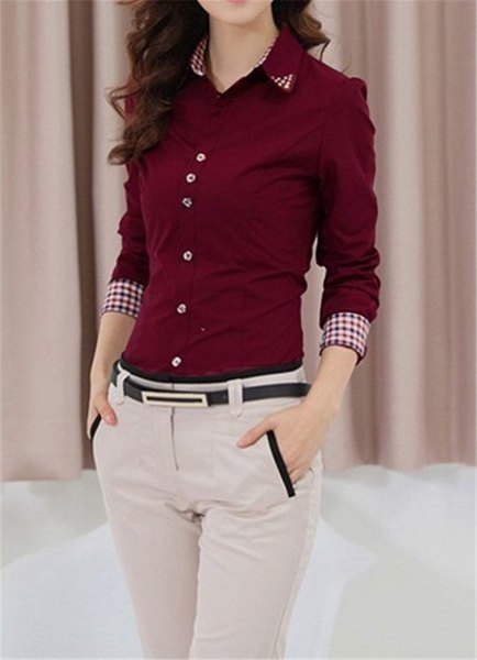 burgundy button up slim fit shirt with light grey slim fit chinos