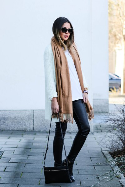 camel long scarf with white oversized shawl and leather leggings