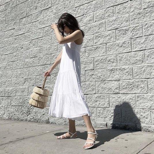 chiffon maxi swing chiffon dress with white lace up sandals