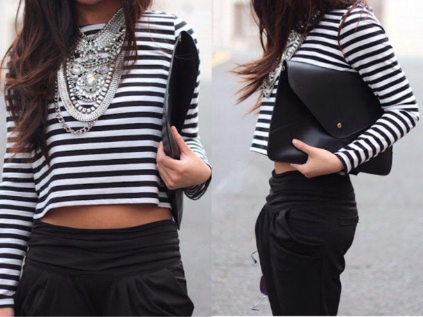 cropped long sleeve striped tee with black cropped chinos