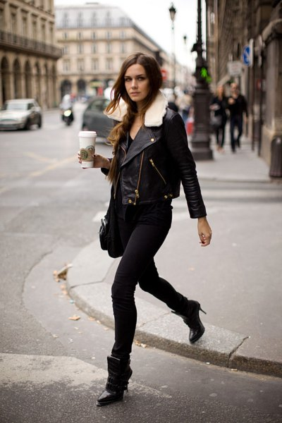 faux fur collar leather jacket with black skinny jeans