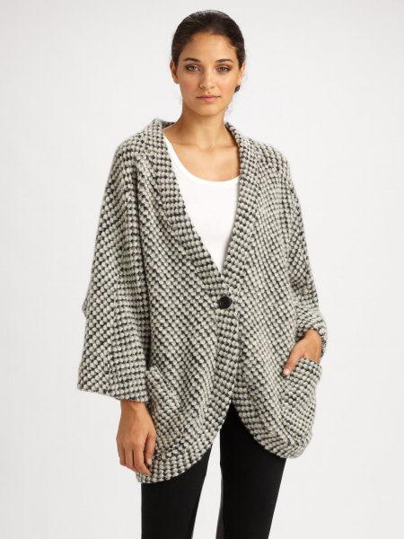 grey and white checkered knit oversized jacket with tank top