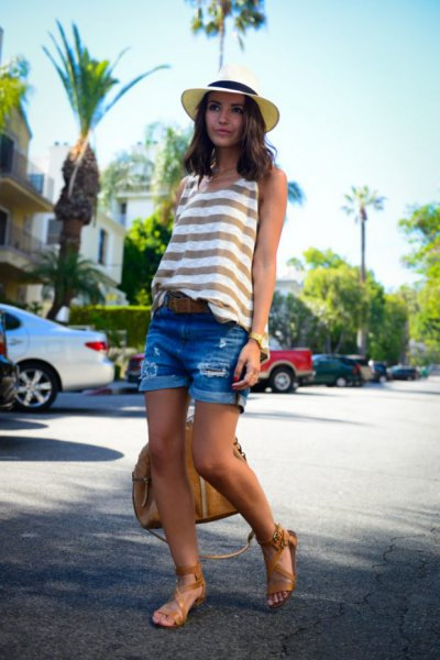 grey and white striped tank top with blue denim shorts