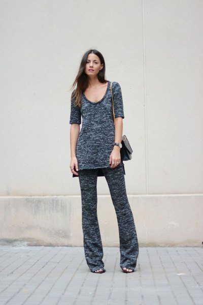 grey scoop neck knit tunic top with matching wide leg pants
