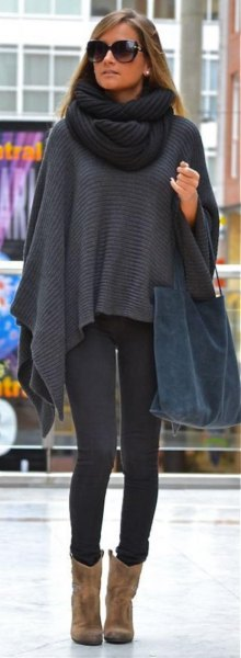 grey shawl with infinity scarf and leggings