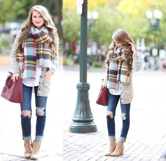 heather grey shawl with colorful plaid scarf