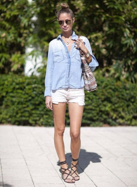 light blue chambray button up shirt with white mini shorts
