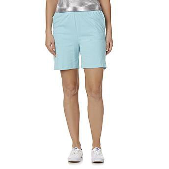 light blue cotton shorts with striped tank top