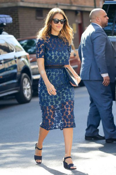 navy semi sheer belted midi dress with matching heeled sandals