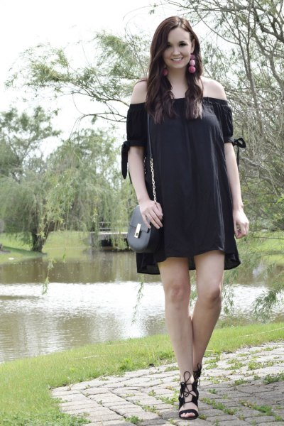 off the shoulder mini shift dress with black lace up sandals