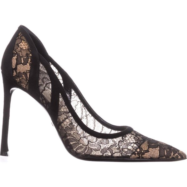 pointed toe floral embroidered lace heels with black maxi prom dress