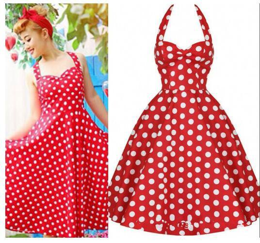 red and white polka dot fit and flare pin up dress