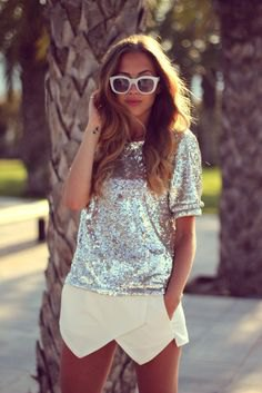 silver short sleeve sequin top with pale yellow mini skort