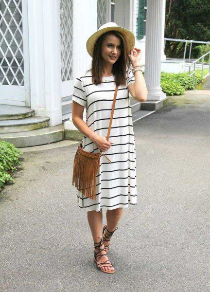white and black short sleeve striped midi dress with flat sandals