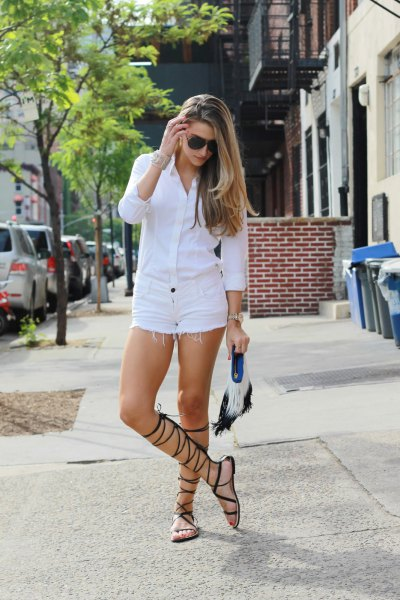 white button up shirt with matching denim shorts