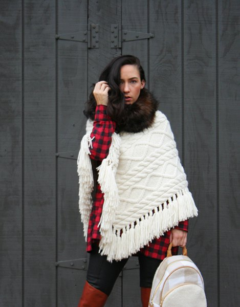 white cable knit shawl with red and black plaid tunic shirt