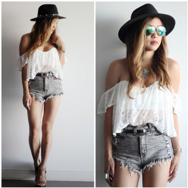 white chiffon semi sheer tube top with grey high waisted ripped denim shorts