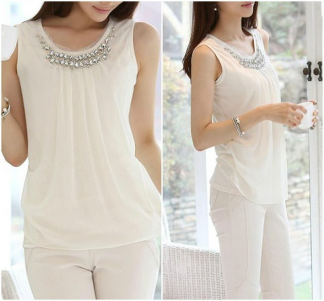 white chiffon sleeveless top with slim fit pants