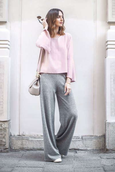 white long sleeve top with grey wide leg pants