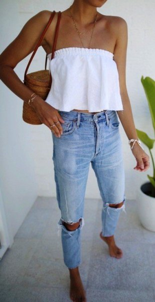white off the shoulder crop top with ripped jeans