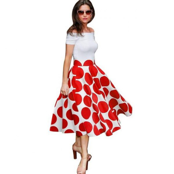 white off the shoulder flared midi dress with red polka dot pattern
