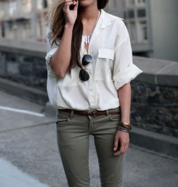 white relaxed fit button up shirt with grey skinny jeans