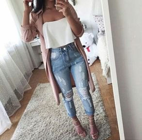 white strapless top with grey longline blazer and ripped jeans