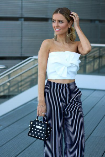 white tie front tube top with striped wide leg pants