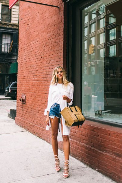 white tunic button up shirt with blue denim mini shorts