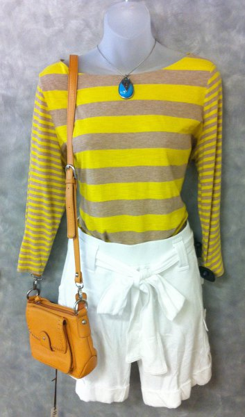 yellow and grey striped long sleeve tee with white tie front mini shorts