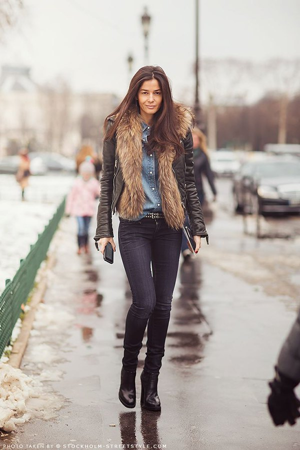 best leather jacket with fur collar outfit ideas for women