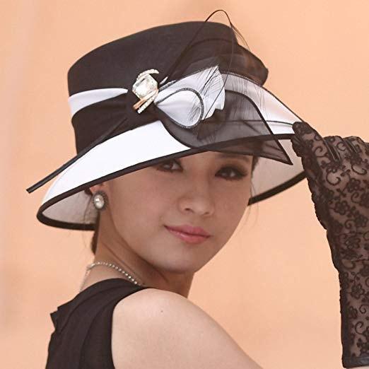 black and white chiffon bucket church hat with tank dress