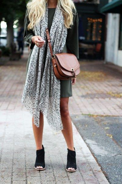 black and white chiffon long scarf with grey mini shift dress