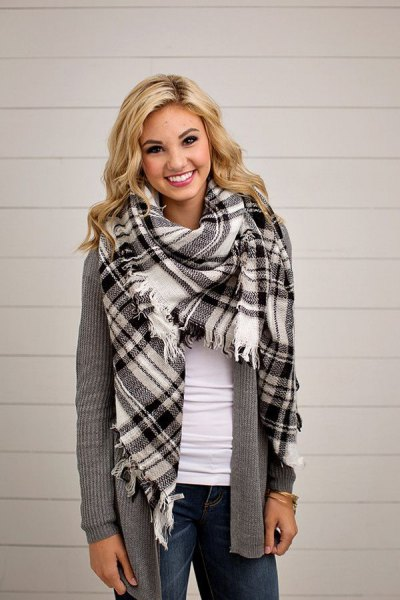 black and white plaid blanket scarf with grey ripped sweater cardigan