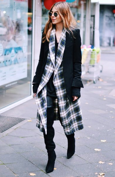 black and white plaid coat with blazer and slim fit jeans