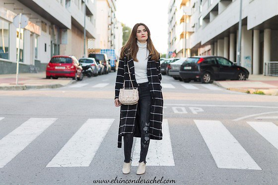black and white plaid long wool coat with white mock neck sweater