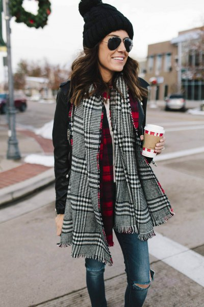 black and white plaid scarf with casual jacket and knit hat