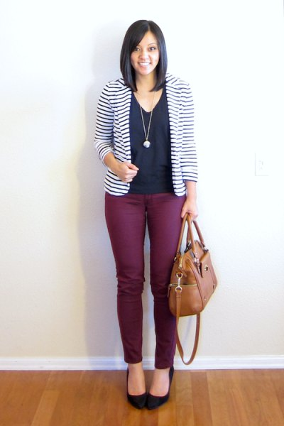 black and white striped blazer with v neck blouse and ballet heels