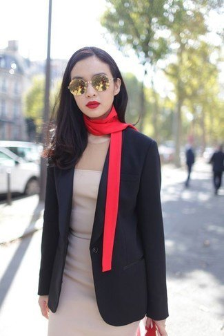 black blazer with gold thin scarf and pale pink mini chiffon dress